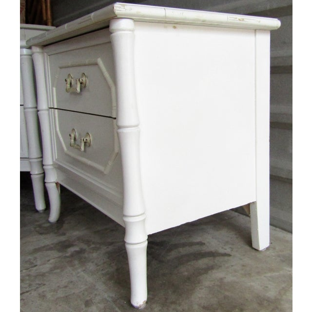 Asian Vintage Faux Bamboo Vintage Two Drawer Nightstands-a Pair For Sale - Image 3 of 8