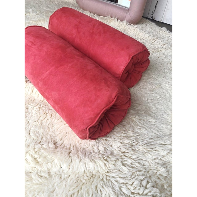 Extremely well made, vintage suede bolster pillows in a heavenly true coral color. These came from an amazing estate, with...