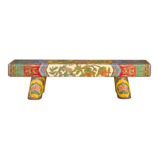 Chunky Top Tibetan Painted Bench For Sale