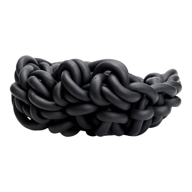Black Neoprene Hand-Knit Basket, Neo For Sale