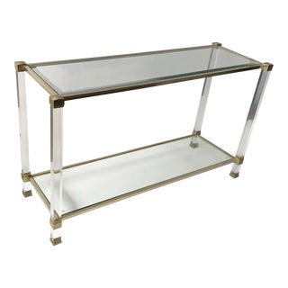 Vintage 2 tier Pierre Vandel Console Table. For Sale