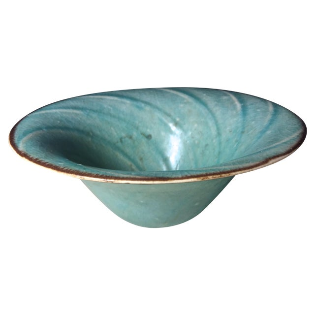 Vintage Aqua Hand-Made Art Pottery Bowl - Image 1 of 7