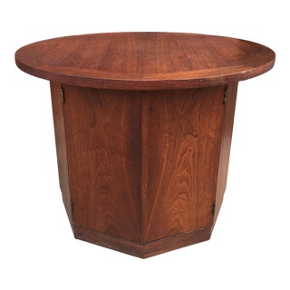 1960s Mid-Century Modern Walnut Lamp Table With Storage For Sale