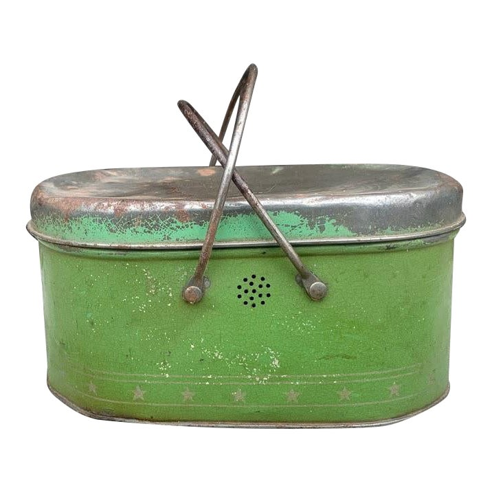 Apple Green 1930s Lunch Pail | Chairish