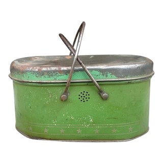 Apple Green 1930s Lunch Pail For Sale