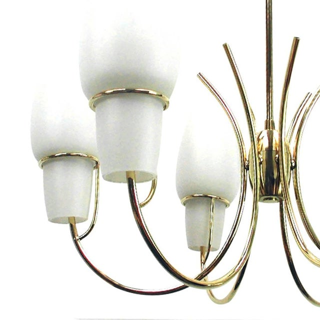 Mid 20th Century 1950s Stilnovo Italian Opaline Glass Brass Chandelier For Sale - Image 5 of 8