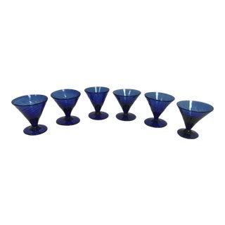 Vintage Hand Blown Cobalt Blue Aperitif Glasses - Set of 6 For Sale