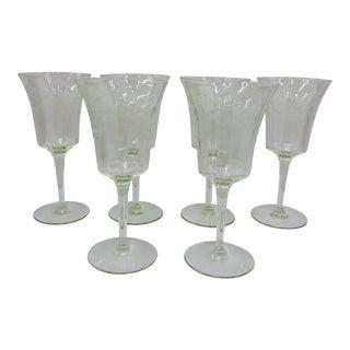 Antique Set Etched Glass Goblets For Sale