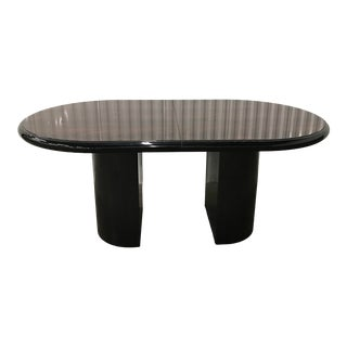 MCM Mid Century Modern 1970s Karl Springer Style Italian Rosewood Lacquered Dining/Conference Table W/Demilune Column Base For Sale