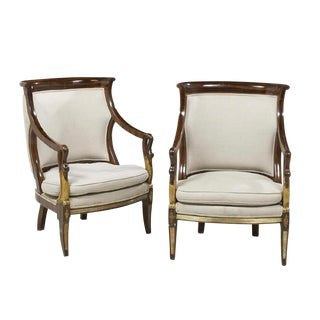 Late 20th Century Neoclassical Faux Bois Rosewood Swan Tub Fauteuils- A Pair For Sale