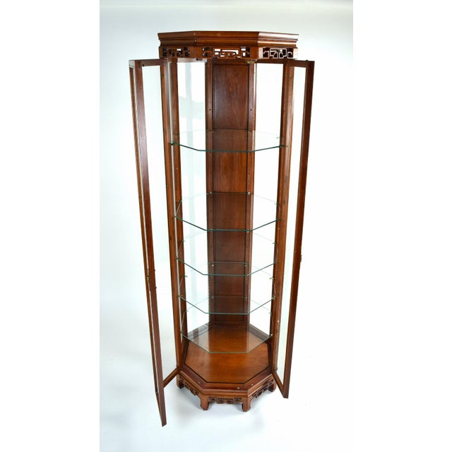 Asian Vintage Asian Rosewood Octagonal Curio China Cabinet For Sale - Image 3 of 12
