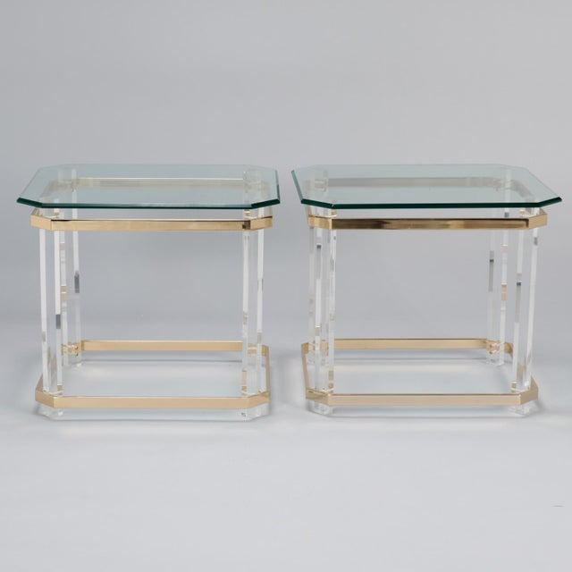 Pair Mid Century Lucite Brass and Glass Side Tables For Sale - Image 11 of 11