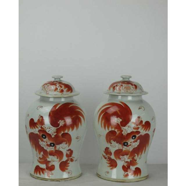 Asian Red Dancing Lion Jar For Sale - Image 3 of 7