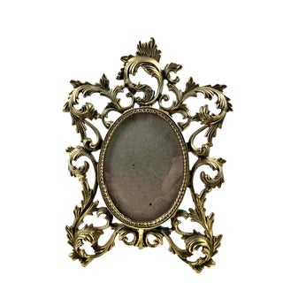 Rococo Solid Brass Carved Frame With Stand For Sale