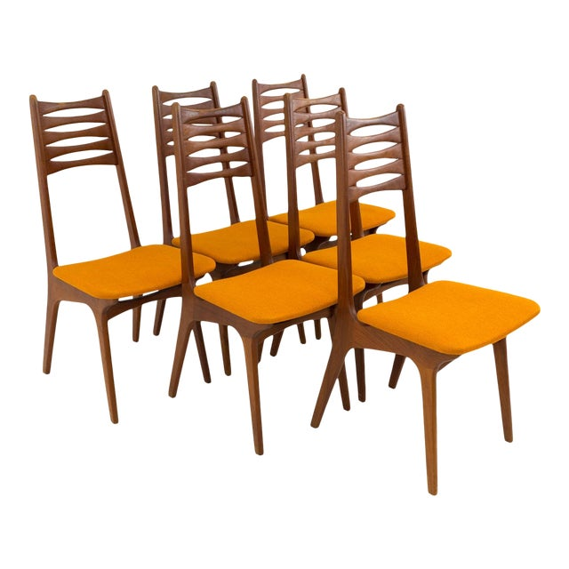 Vintage Mid Century Teak Bow Tie Ladderback Dining Chairs- Set of 6 For Sale