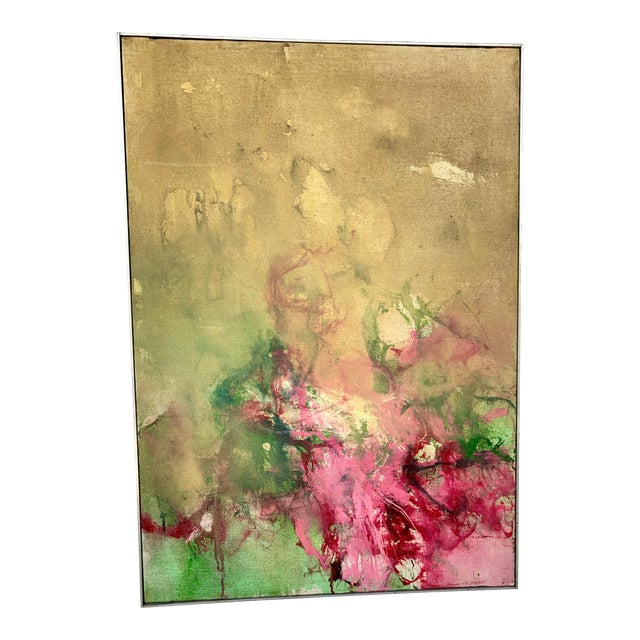 1960s Vintage Green and Pink Abstract Painting For Sale