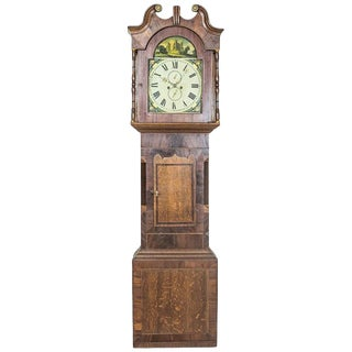 English Grandfather Clock in an Oak Case, circa 1820 For Sale