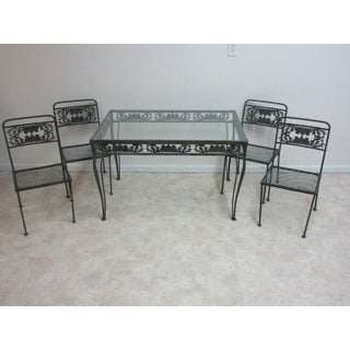 Vintage Outdoor Cast Aluminum Patio Porch Dining Table & Chairs - Set of 5 Preview