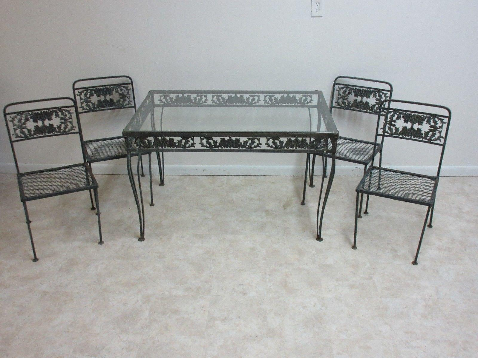 Vintage Outdoor Cast Aluminum Patio Porch Dining Table U0026 Chairs   Set Of 5    Image