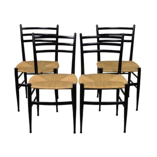 1960s Vintage Gio Ponti Style Ebonized Dining Chairs - Set of 4