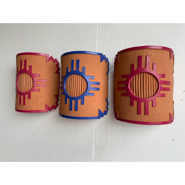 Rustic 1980s Southwest Taos Terra Cotta Sconce Covers - Set of 3 For Sale - Image 3 of 13