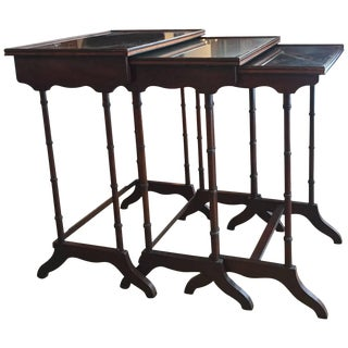 Regency Style Inlaid Rosewood Nesting Tables For Sale