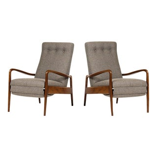 1960s Danish Modern Reclining Lounge Chairs - a Pair For Sale