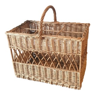 Vintage French Wicker Champagne Basket For Sale