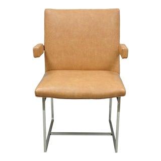 Vintage Mid Century Modern Milo Baughman Chrome Floating Frame Dining Arm Chair For Sale