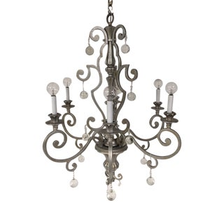 1980s Six Light Silver Tower Chandelier With Circular Crystals For Sale