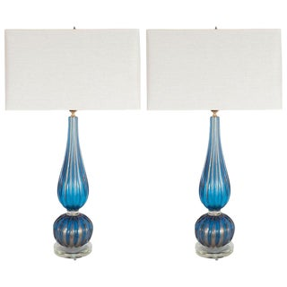 Modern Handblown Murano Royal Blue Glass With 24kt Gold Flecks Table Lamps - a Pair For Sale