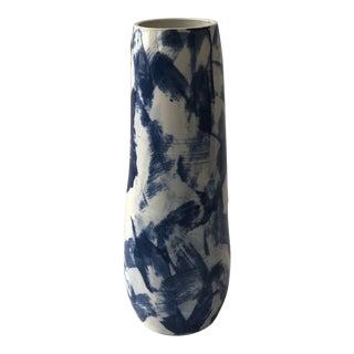 Tall Cobalt Criss Cross Slip Vase For Sale