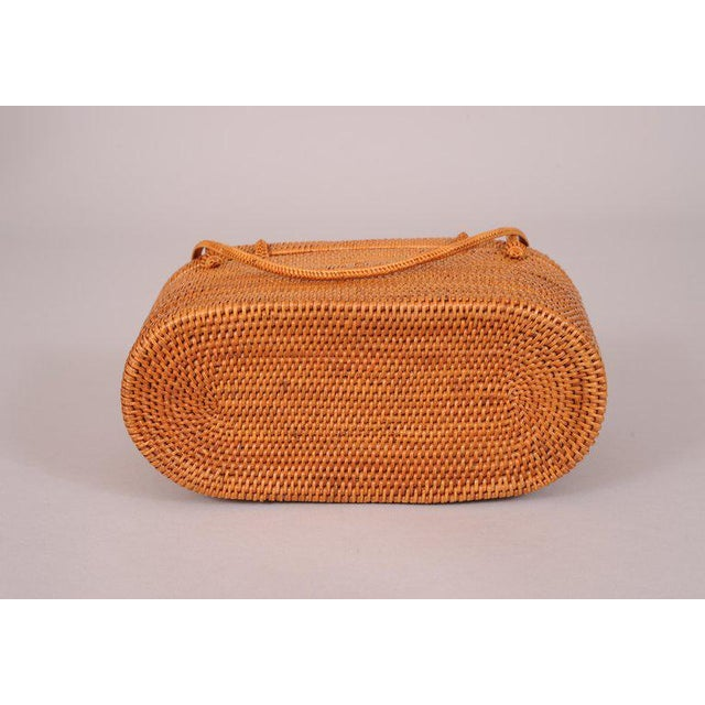 1950s 1950's Woven Straw Box Bag For Sale - Image 5 of 7