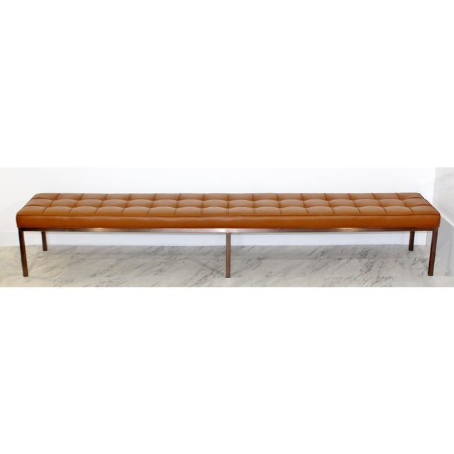 Mid-Century Modern 1970s Mid-Century Modern X-Long Tufted Leather Museum Bench For Sale - Image 3 of 13