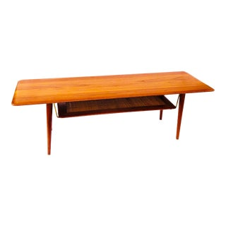 Peter Hvidt and Orla Mølgaard for France and Sons Coffee Table With Cane Shelf and Brass Accents For Sale