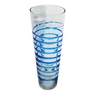 Extra Large Vintage Blenko Glass Vase With Blue Spirals For Sale