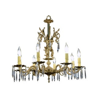 Cast Brass and Crystal Figural Chandelier C. 1920s For Sale