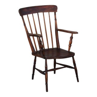 19thc English High Back Arm Chair For Sale