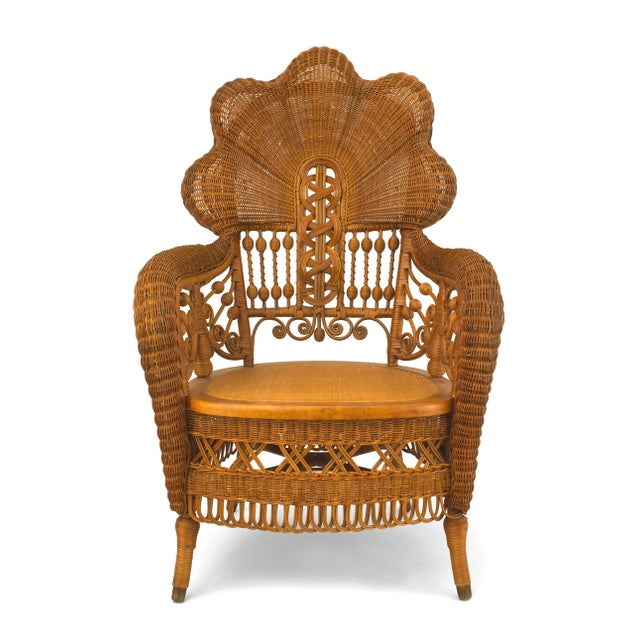 Traditional American Victorian Natural Wicker Arm Chair For Sale - Image 3 of 5