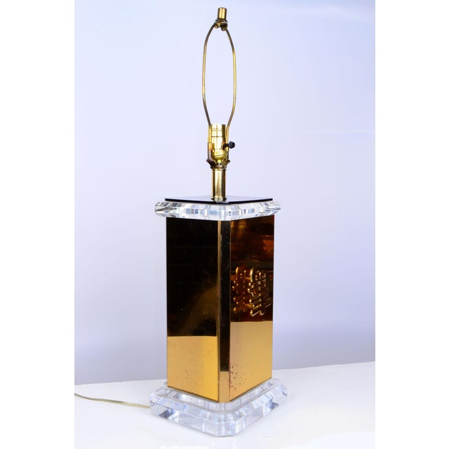 Asian Script Brass and Lucite Table Lamp For Sale - Image 4 of 11