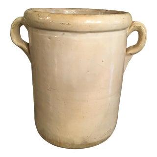 Antique Italian Cream Colored Earthenware Confit Jar Pot For Sale