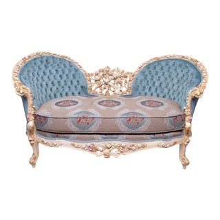 Tufted Blue Fabric Louis XV Sofa For Sale