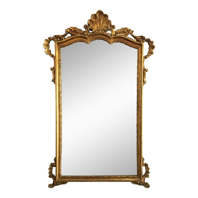 Vintage Rococo Style Shell Motif Gilt Mirror For Sale