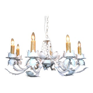 Painted White Wrought Iron Chandelier