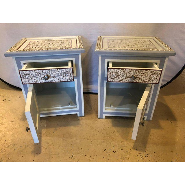 Islamic Moorish Style White Blue-Gray and Burgundy Night Stands - a Pair For Sale - Image 3 of 12