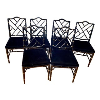 1980s Vintage Faux Bamboo Chinese Chippendale Style Chairs - Set of 6 For Sale
