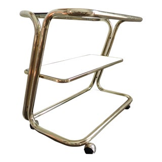 Brass Cantilever Bar Cart Smoked Glass For Sale
