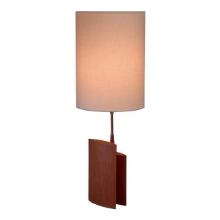 Table lamp with two ellipsoid wood parts and brass stem, Denmark, 1960s For Sale