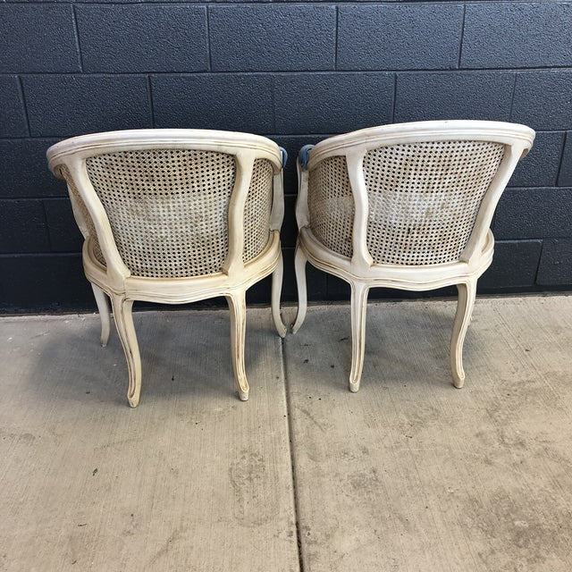 1960s 1960s Louis XV Style Barrel Back Caned Bergere Chairs - a Pair For Sale - Image 5 of 12