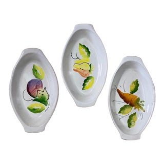 Italian Hand Painted Pottery Oval Dishes by Marzia Ceramics - Set of 3 For Sale